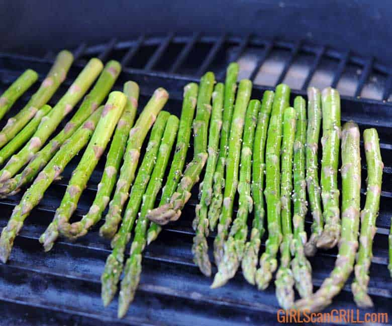 asparagus stalks on a grill