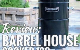 barrel house cooker on slate patio near planter box
