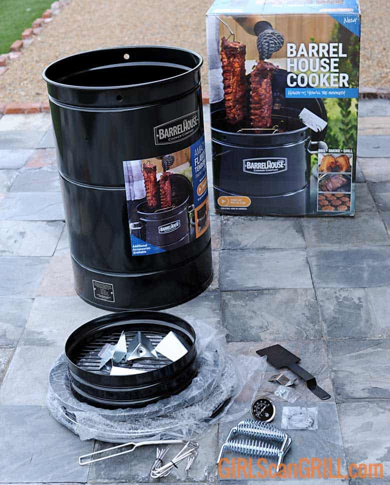 barrel house cooker with assembly parts and box on slate