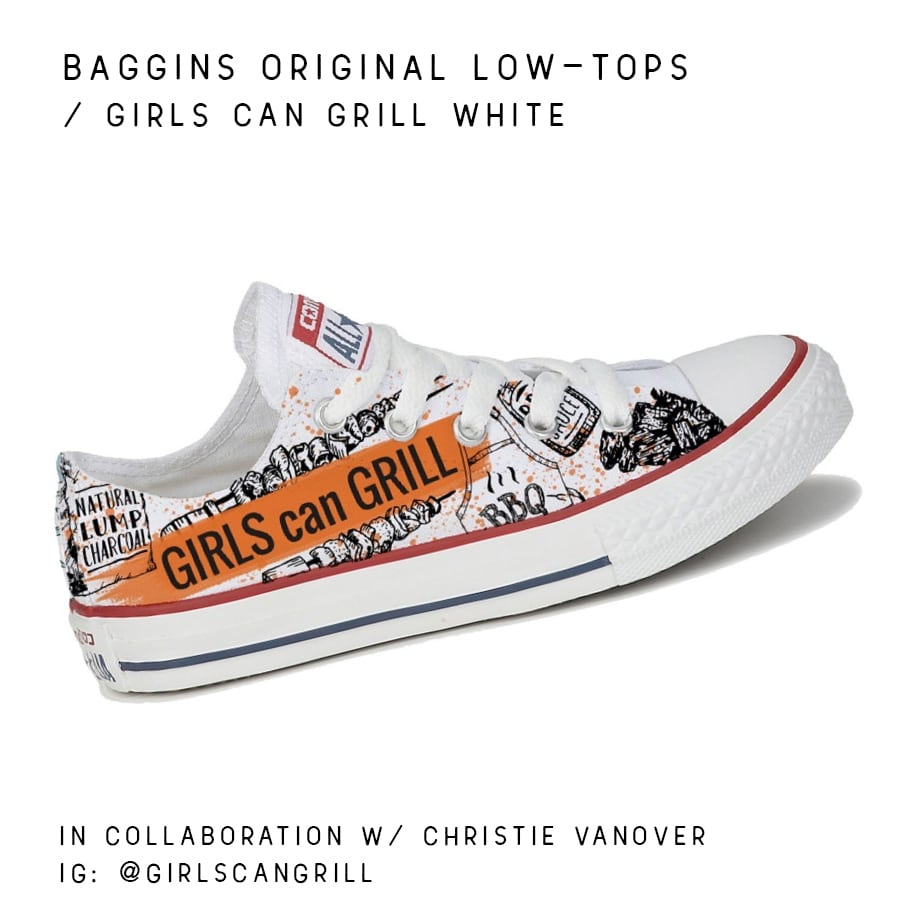 Converse shoes with Girls Can Grill stamp
