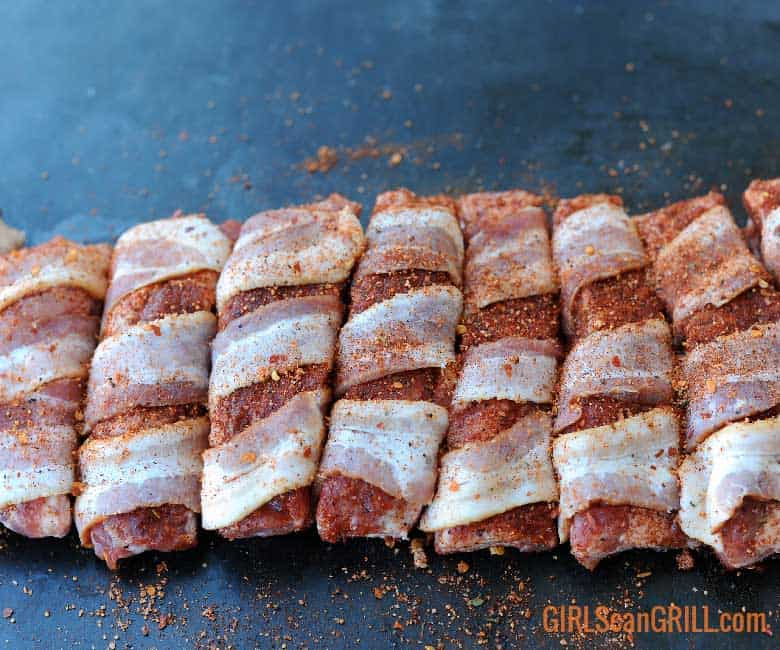 single rib bones wrapped in bacon
