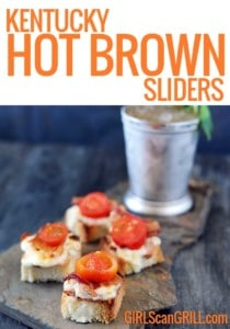 4 hot brown sliders on a slate platter with mint julep