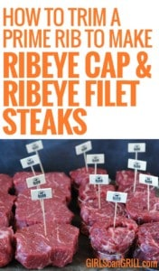 rows of ribeye filet steaks and ribeye cap steaks with toothpics