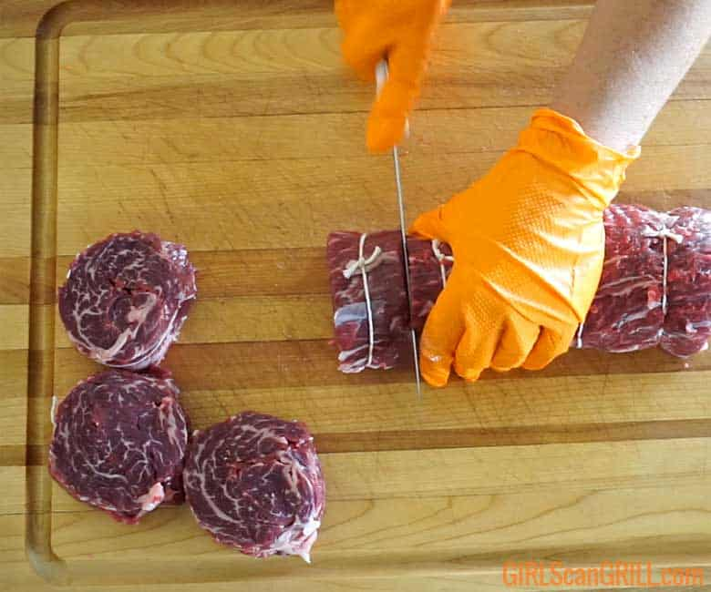 cutting spinalis into steaks