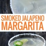 glass of smoked jalapeno margarita with lime and jalapeno