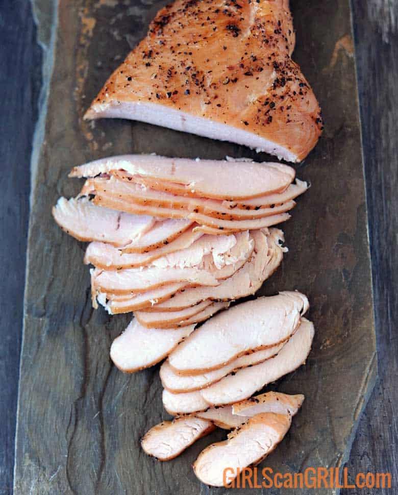 turkey breast sliced on slate platter