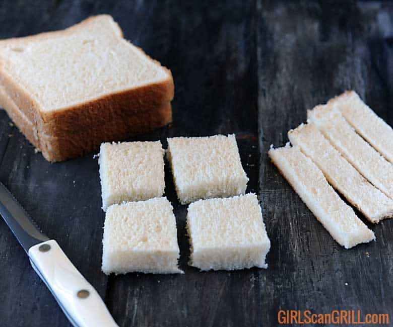 bread slices cut into 4 squares