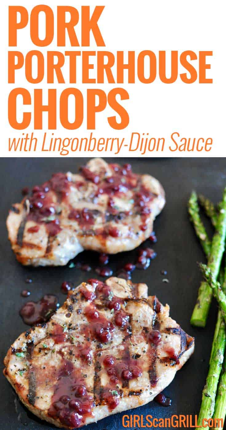 Pork Porterhouse Chops with Lingonberry-Dijon Sauce