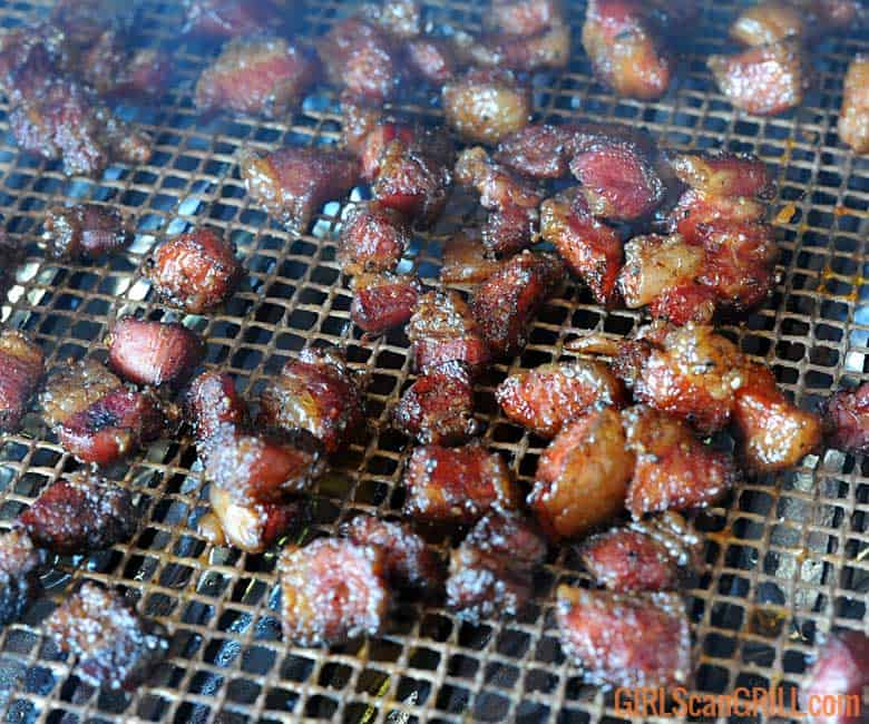 smoked pork belly candy on grill