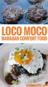 loco moco with egg on top of beef, gravy and rice
