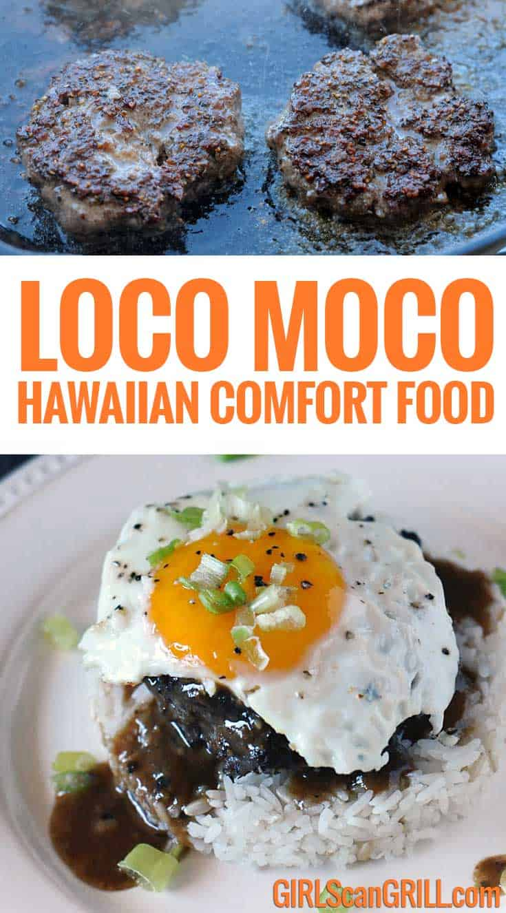 From the islands to your dinner table, Loco Moco is Hawaiian comfort food made with rice and a burger smothered with rich gravy and a runny yolk. #locomoco #bestangusbeef #hawaiian #breakfast #beef