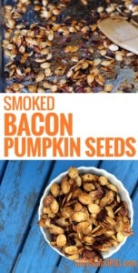 white bowl of smoked bacon pumpkin seeds on blue wooden table