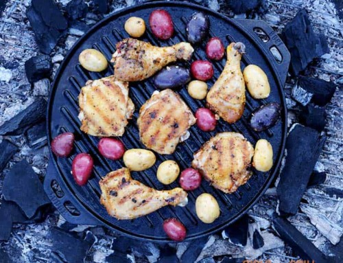 Cast Iron Grilled Chicken with Rainbow Potatoes
