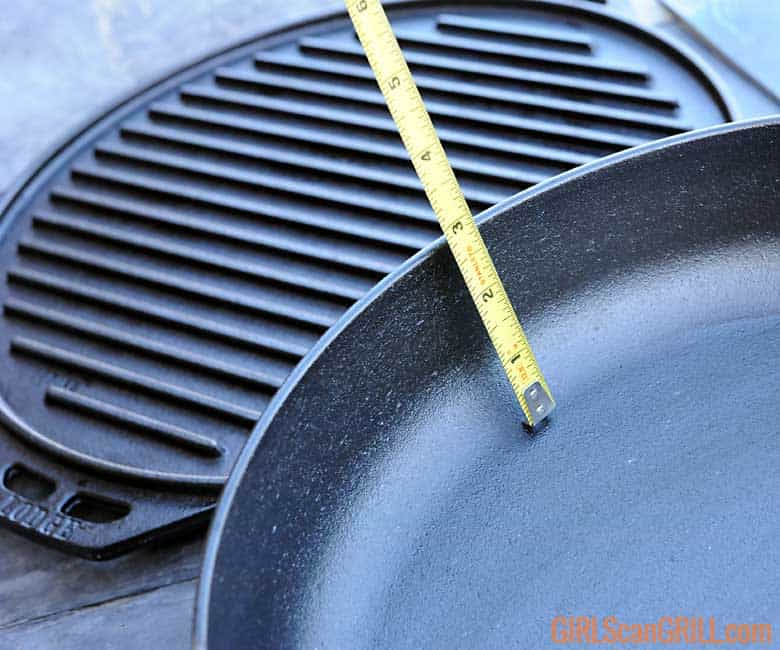 tape measure showing depth of Cook-It-All skillet