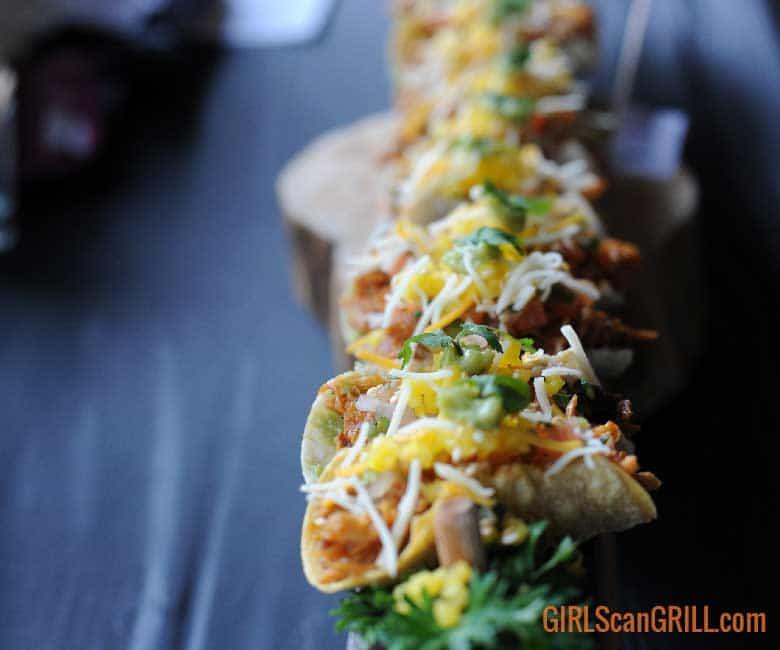 narrow row of small tacos