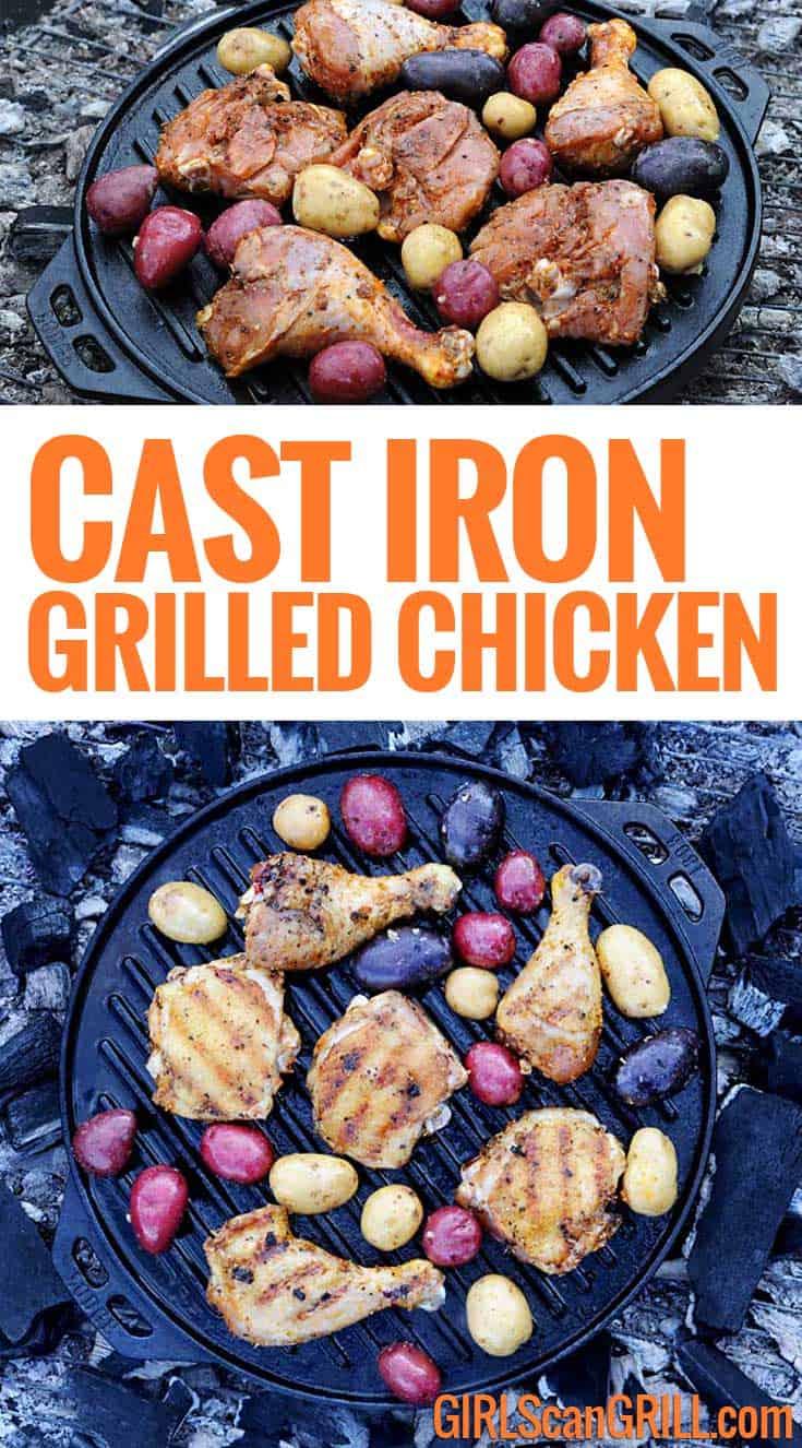 With the Lodge Cast Iron Cook-It-All, you can grill and roast chicken over a campfire, creating crispy skin with juicy meat and a side of flavor-infused rainbow potatoes. #savortheoutdoors #lodgecastiron