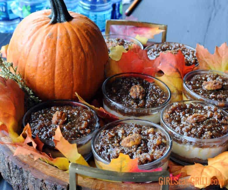 small bowls of pumpkin crumb dessert