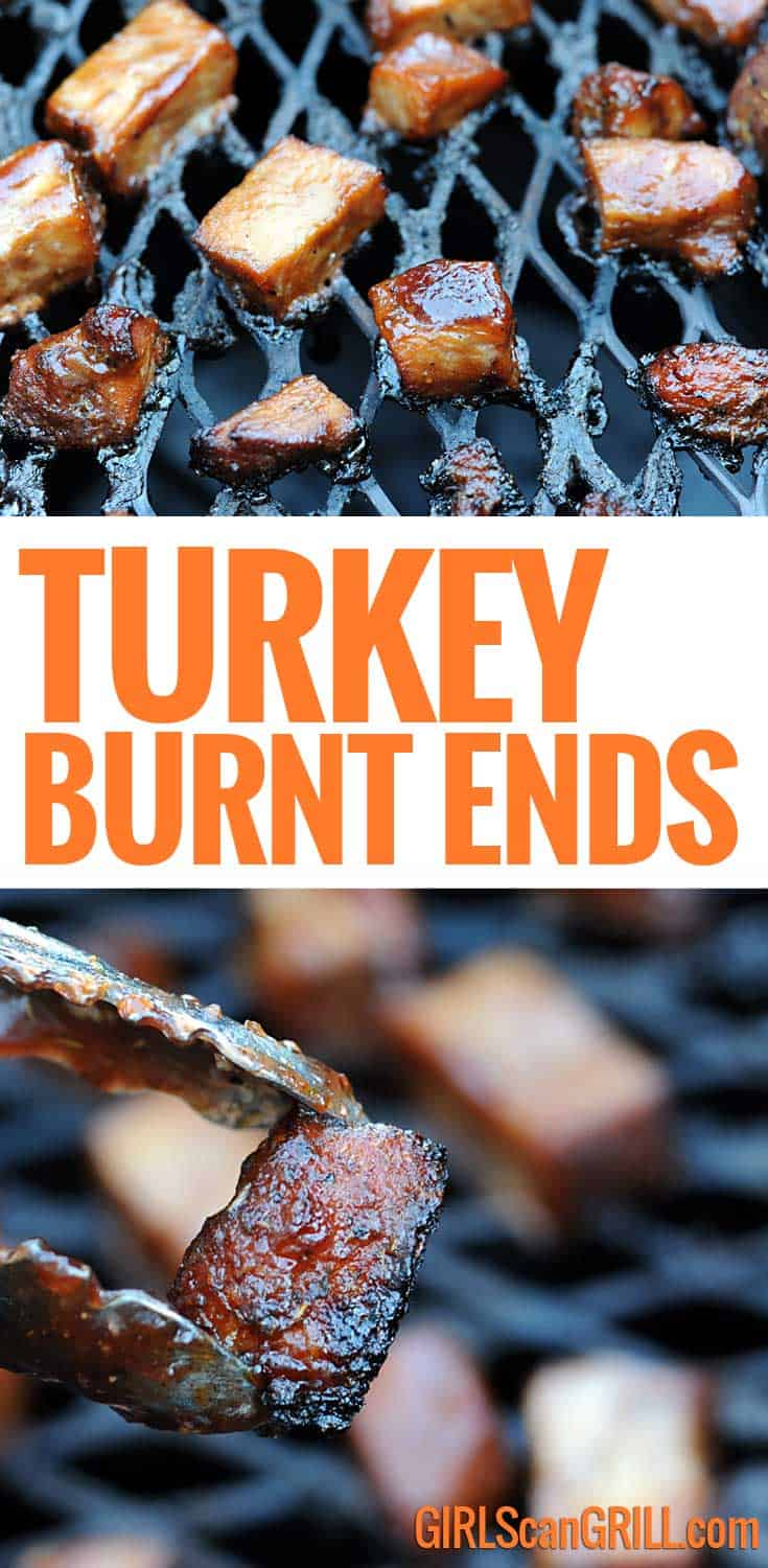 Recipe and video for smoked turkey burnt ends with sticky cranberry barbecue sauce. #burntends #thanksgiving #turkey #bbq #smoked