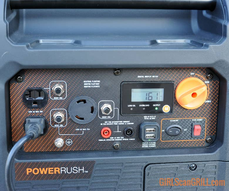 plug plugged into generator on panel