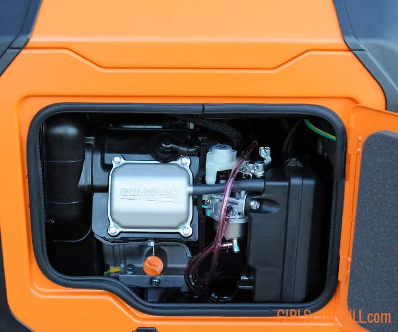 inside of an orange generator