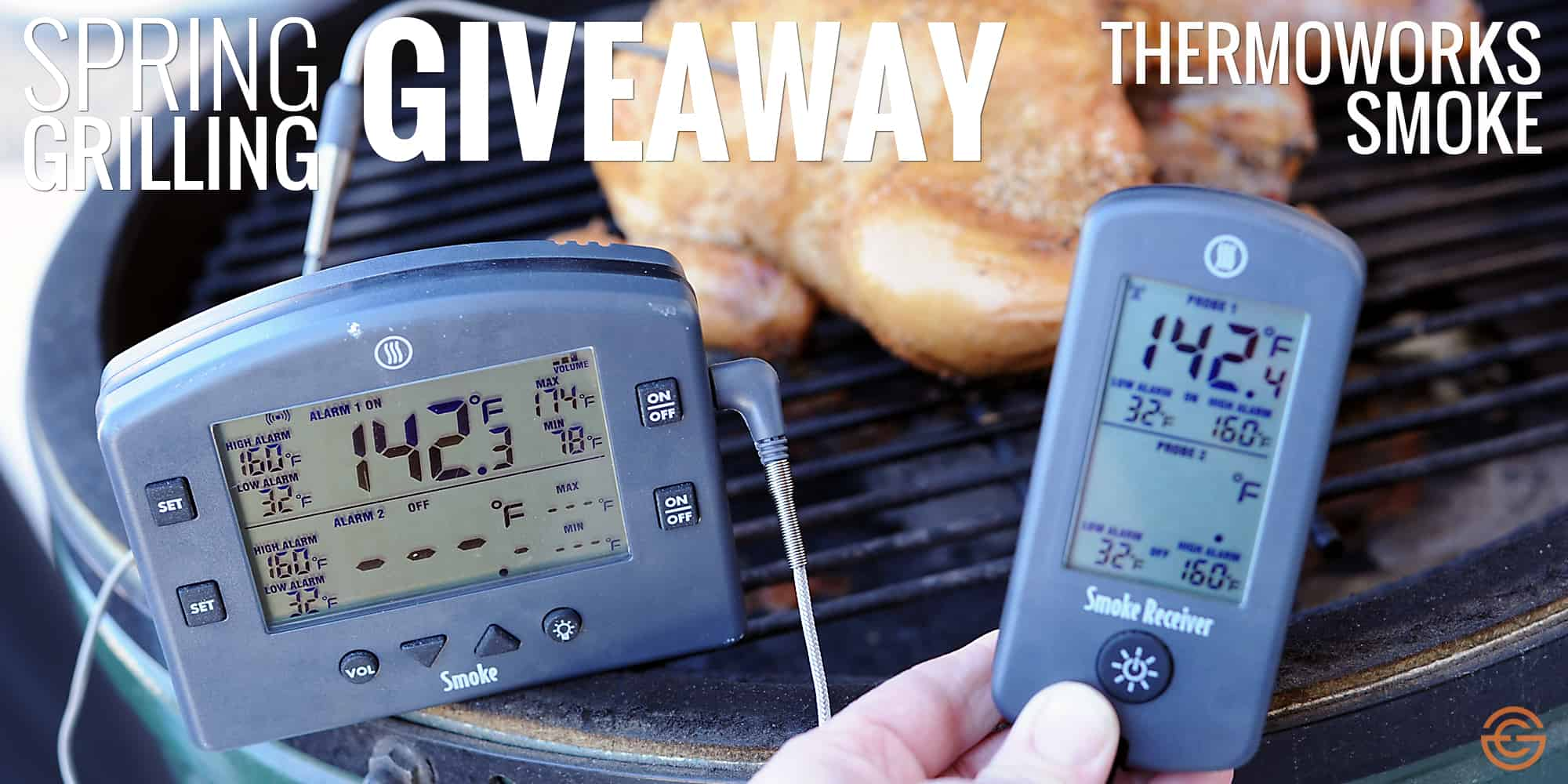 Holding a thermometer and receiver by a grilling chicken