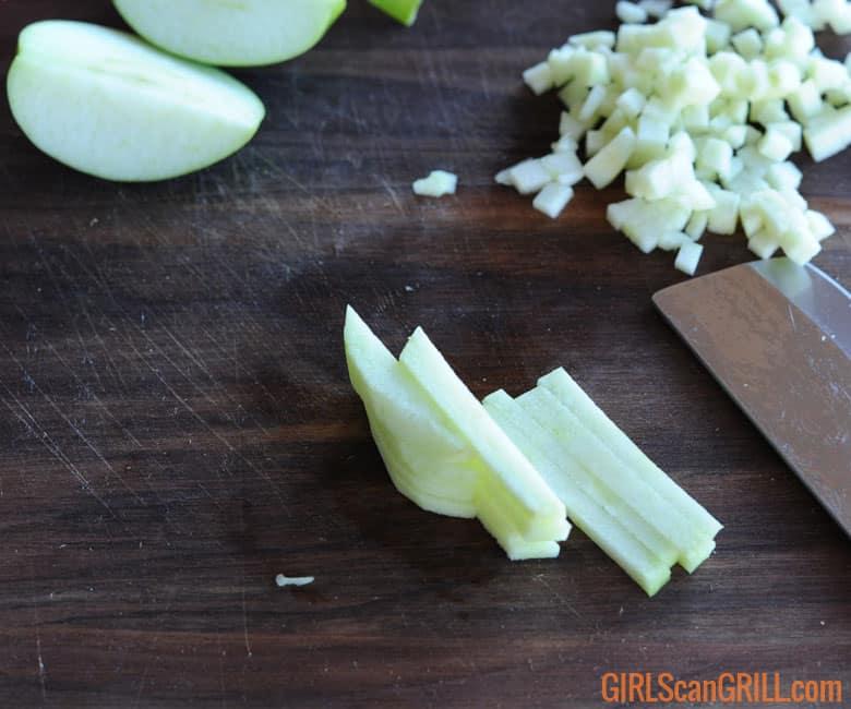julienned green apple
