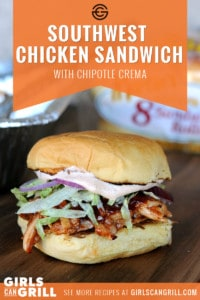 pulled chicken with bbq sauce on potato roll with shredded lettuce