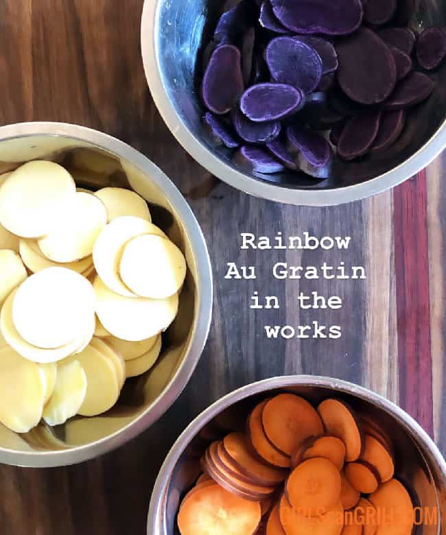 purple, white and orange sweet potatoes in separate bowls