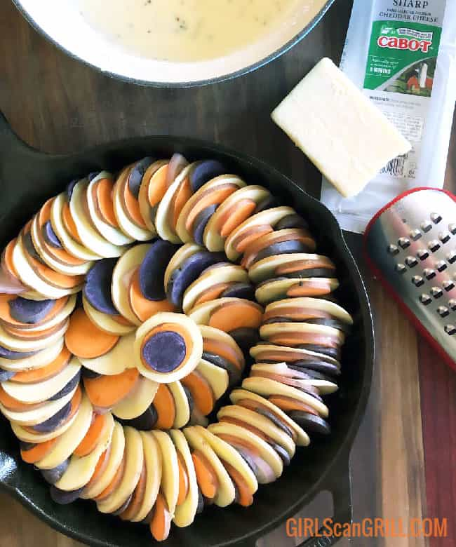 tri-color sweet potatoes spiraled in cast iron