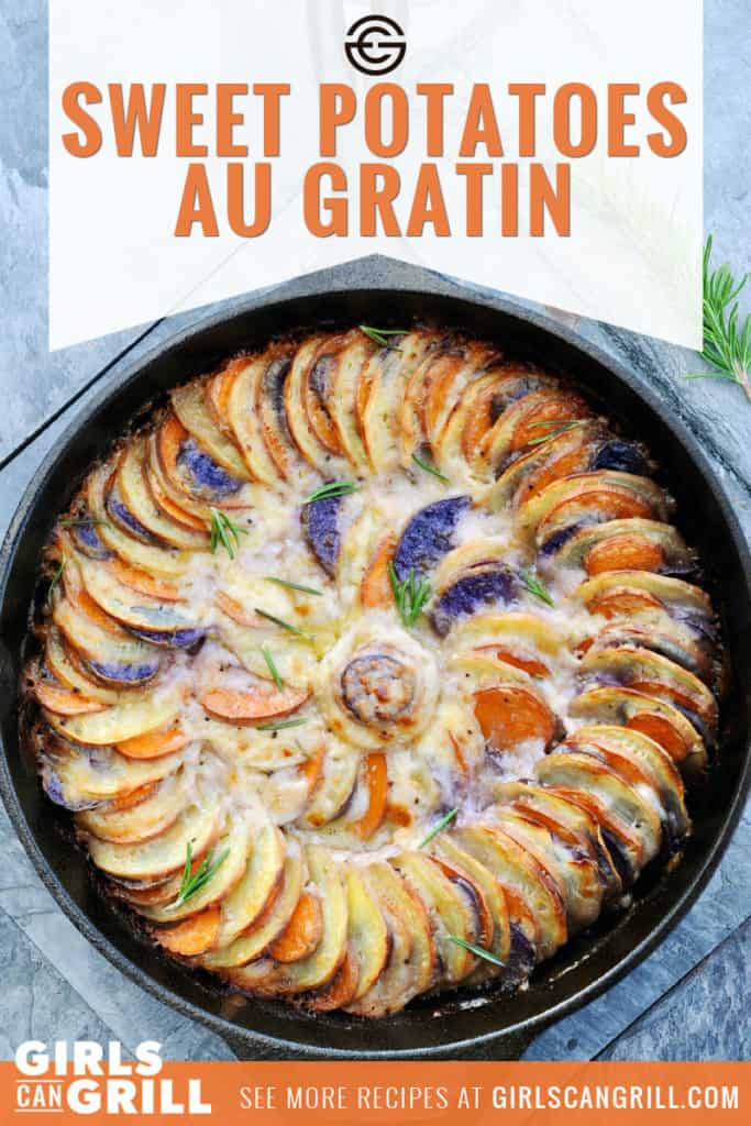 tri-color sweet potatoes spiraled in cast iron with baked cream sauce