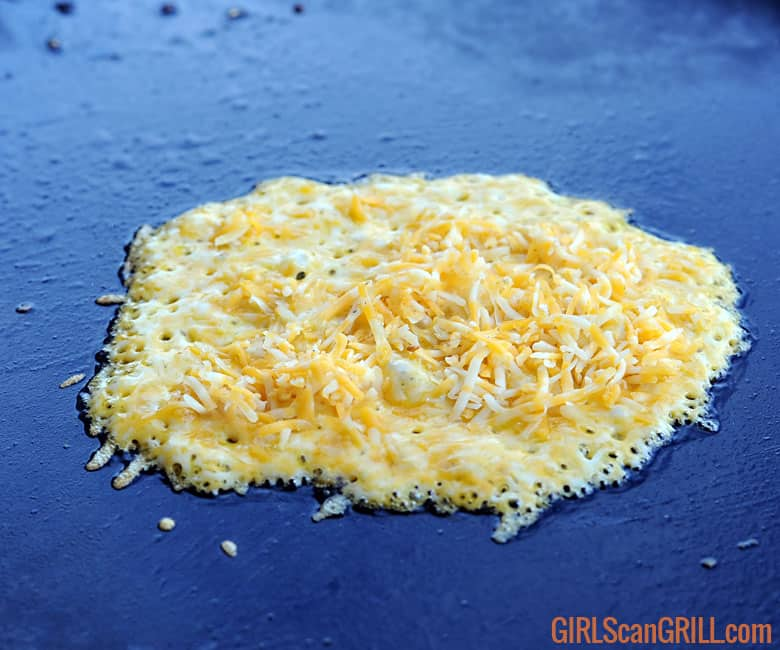 cheese melting on griddle