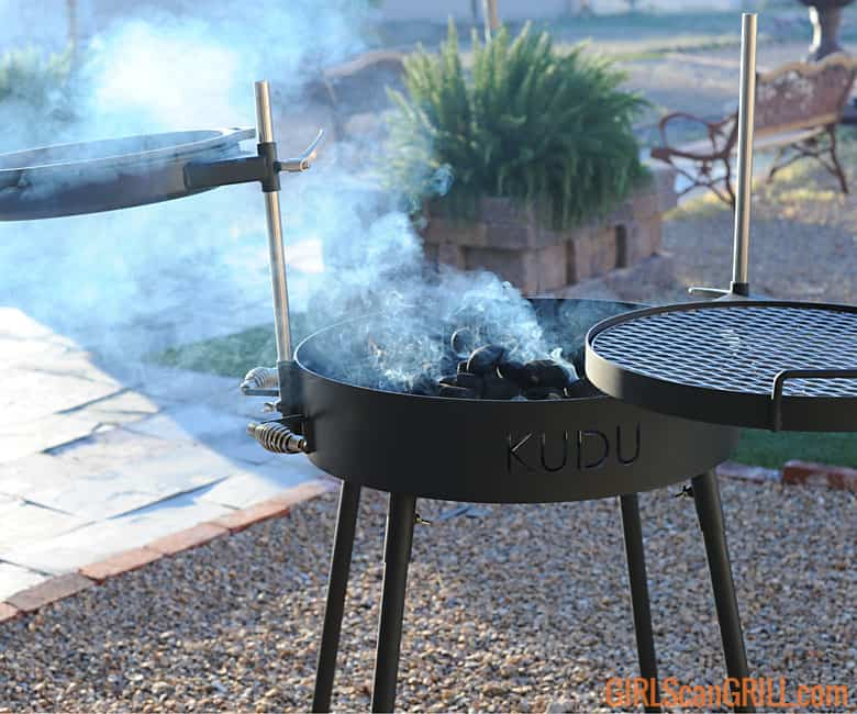 coals smoking in KUDU grill base