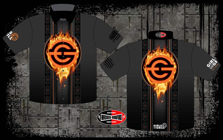 front and back of black shirts with orange icon in center with flames