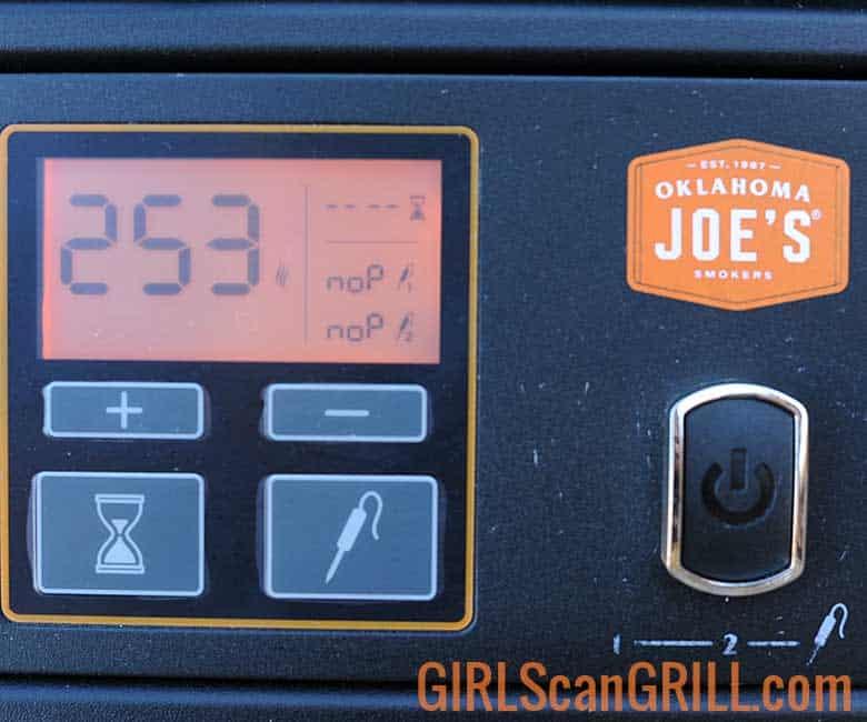 pit control panel showing smoke mode