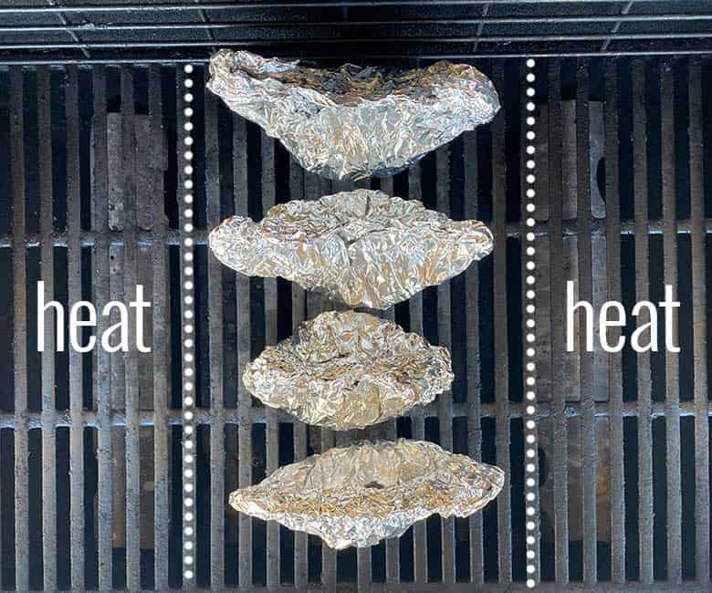 4 foil packets in center of gas grill