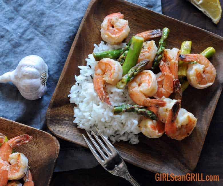 Lemon Garlic Butter Grilled Shrimp and Asparagus