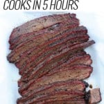 Hot and Fast Brisket sliced on white paper