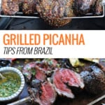 sliced picanha surrounded by grilled veggies