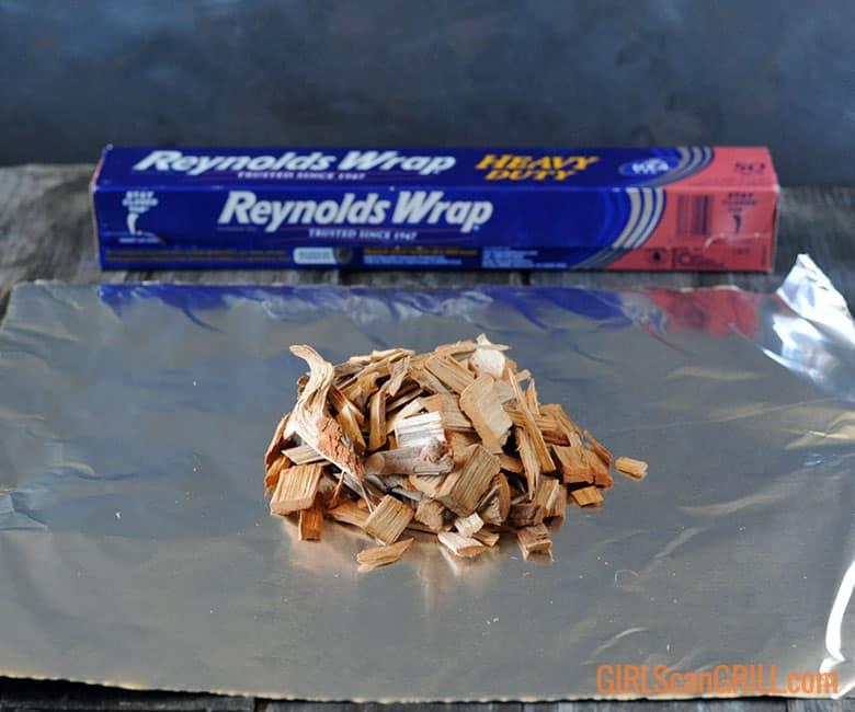 wood chips on sheet of foil