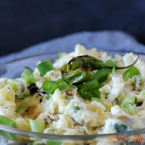 close up of Blistered Shishito Pepper Potato Salad