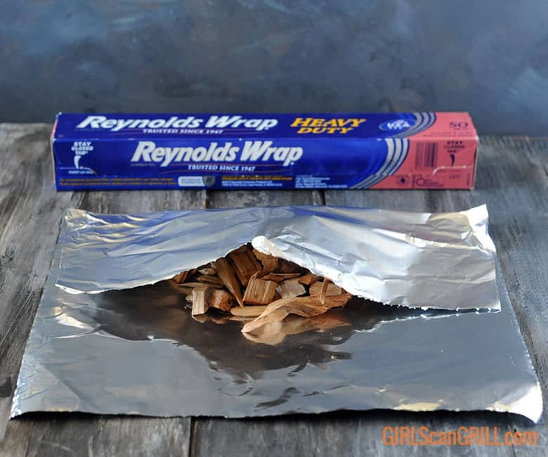 wood chips tucked in foil pouch