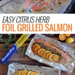 two salmon fillets topped with citrus, herbs and nuts on foil