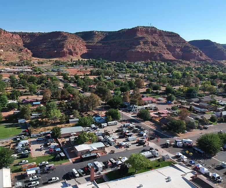 aerial view of bbq contest in Kanab, Utah