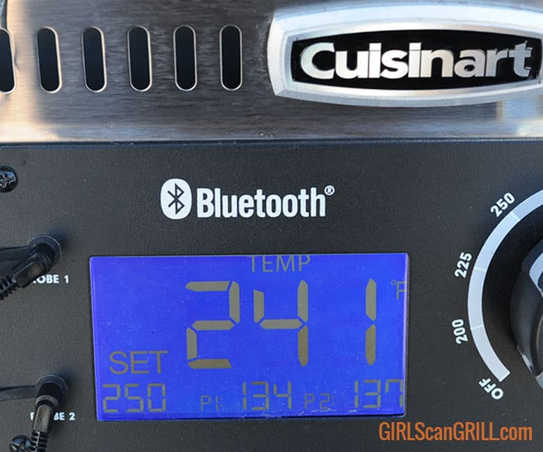 Cuisinart pellet grill panel showing 241F degrees