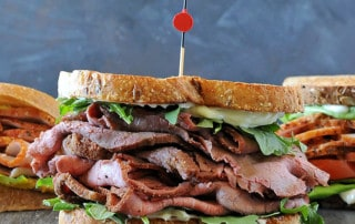 smoked homemade lunch meat - roast beef sandwich with lettuce