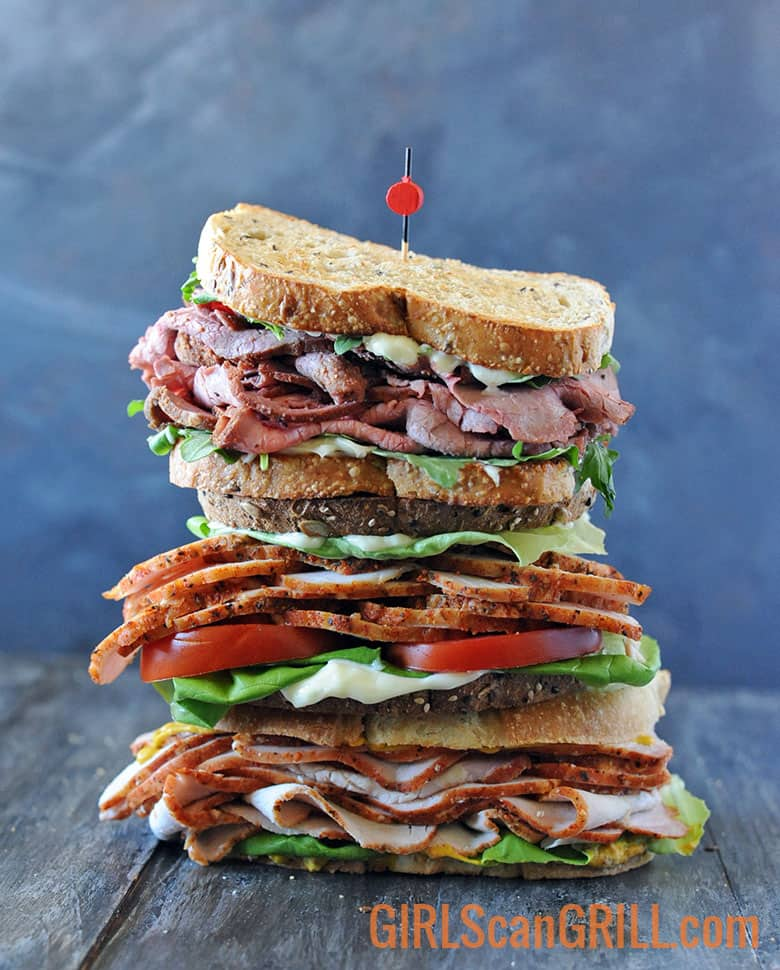 three sandwiches stacked on top of each other