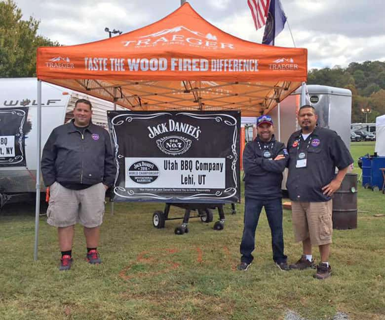 Team Utah BBQ Company by tent at Jack Daniels