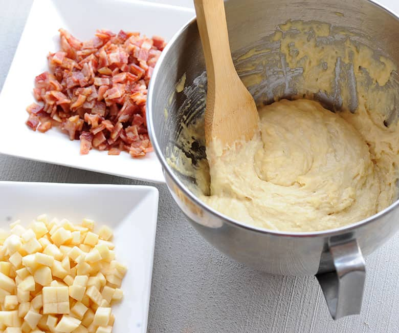 bacon apple fritter batter, apples and bacon