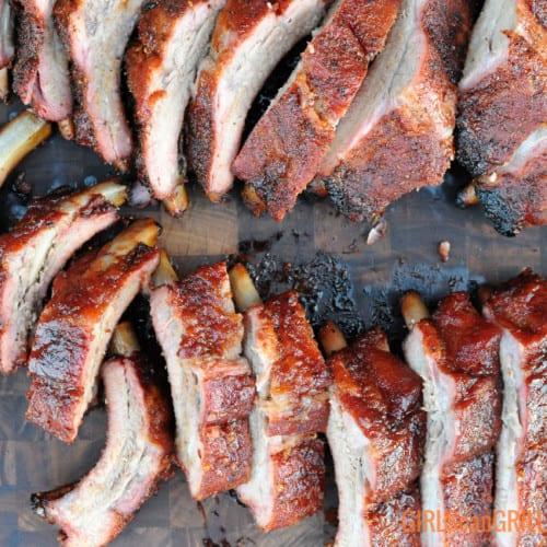 sliced rib bones on wooden board