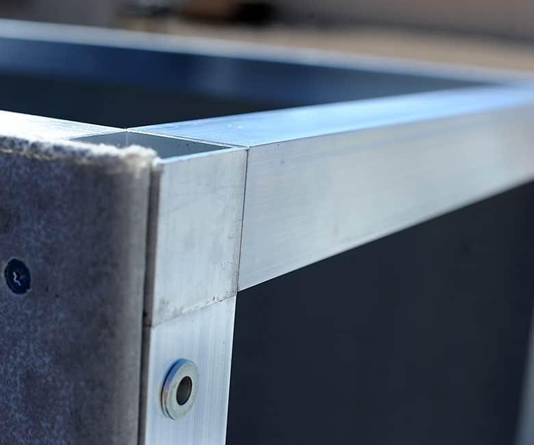showing two metal bars flush